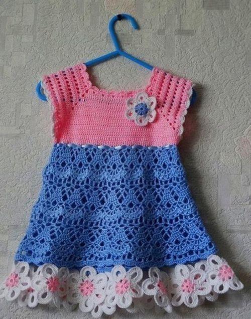 vestido-color-rosa-y-azul1   Varios   Pinterest   Vestidos tejidos ...