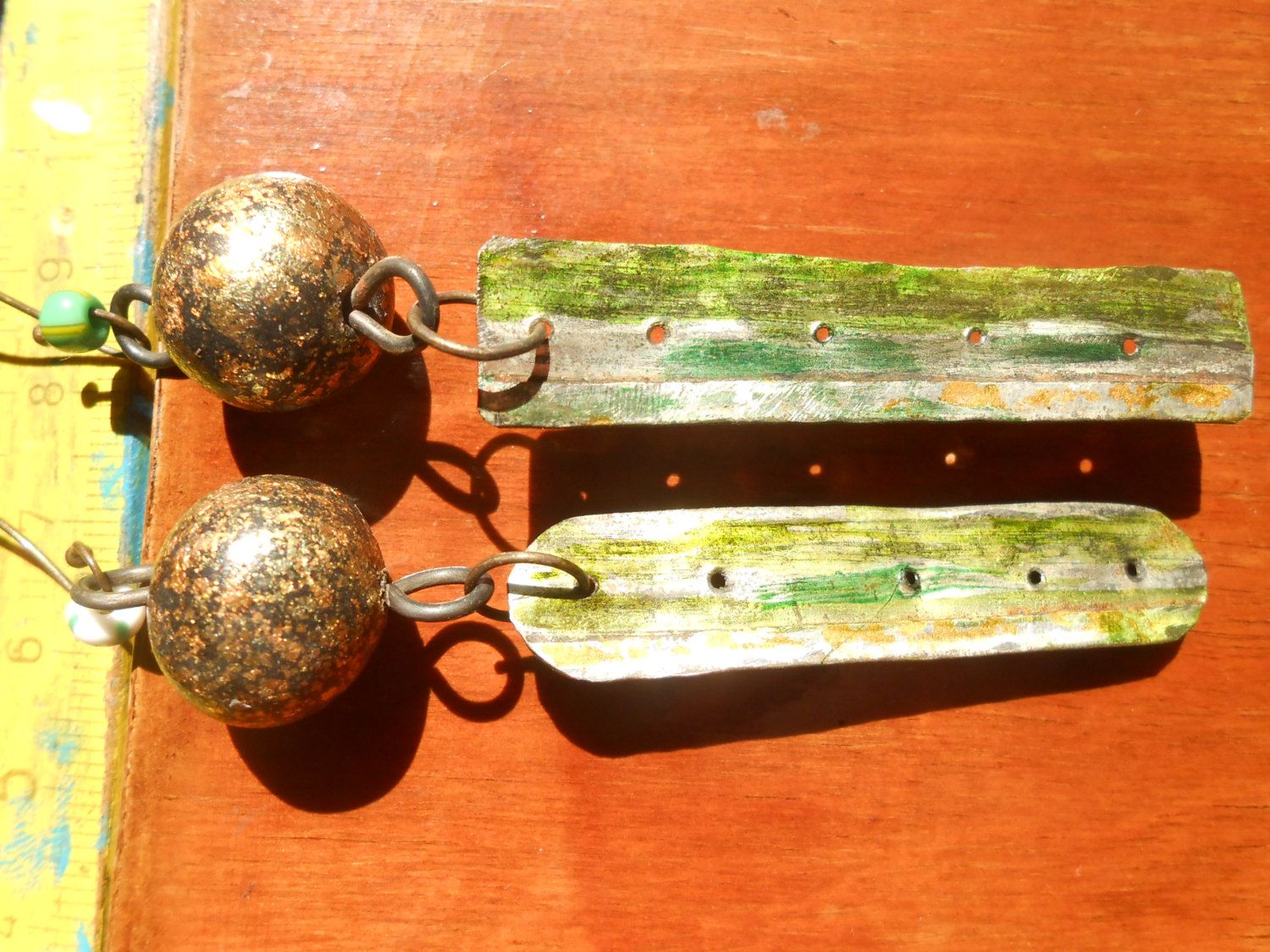 Reclaimed tin earrings in gold and silver with polymer beads, handmade jewelry, Rosin Trails by RosinTrails on Etsy