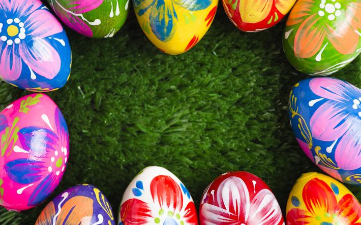 Hämta bilder målade påskägg, grönt gräs, Påsk, dekorerade ägg, påsk ram, våren