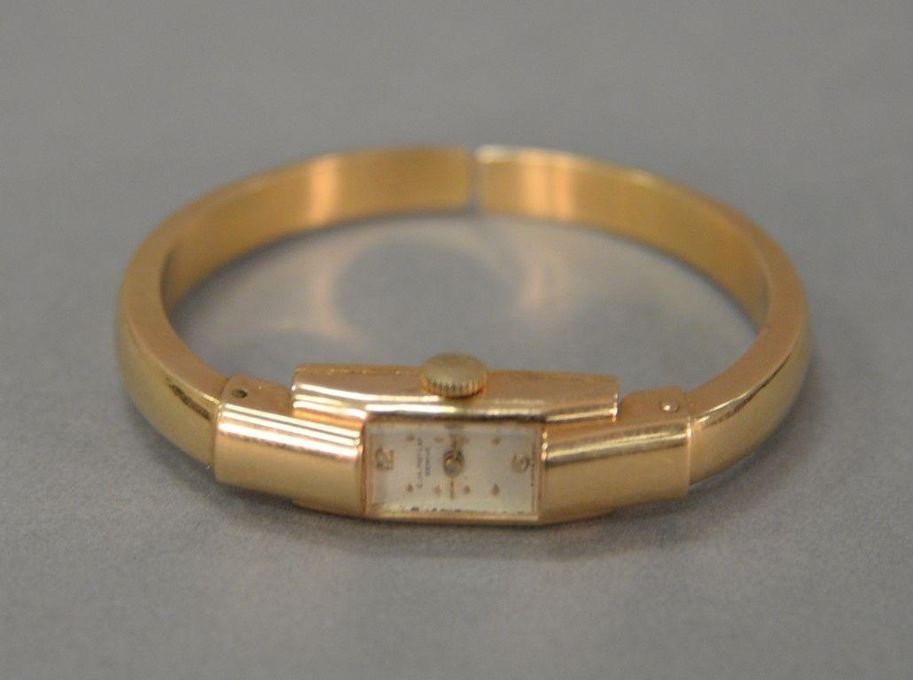 C h meylan ladies art deco k gold wristwatch with k gold