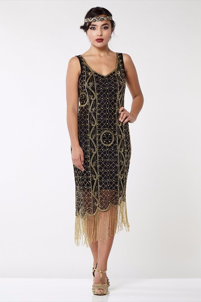 Great Gatsby Fringe Party Dress in Black Gold in 2019  8be69cd0b