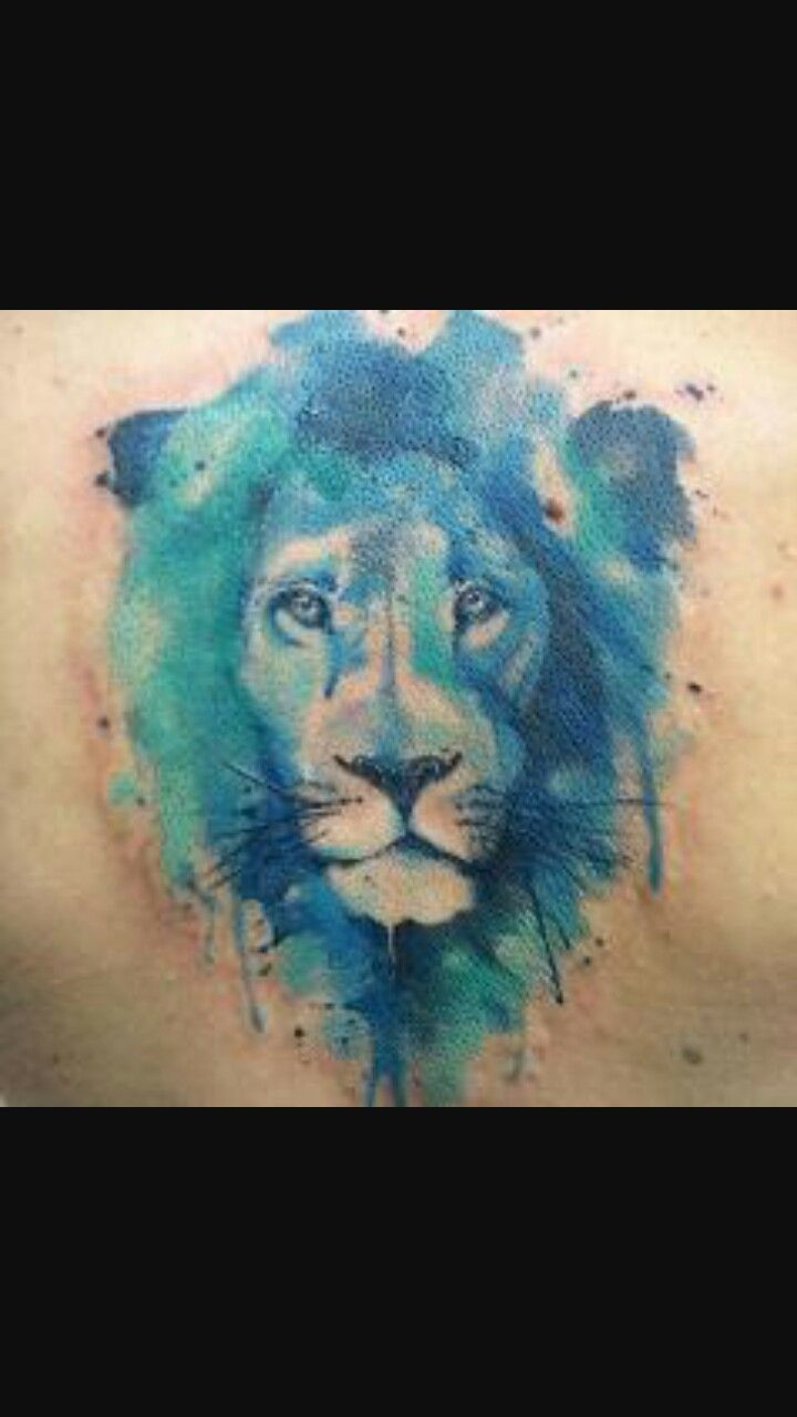 150 realistic lion tattoos and meanings 2017 collection -  Watercolour Lion Tattoo Blue
