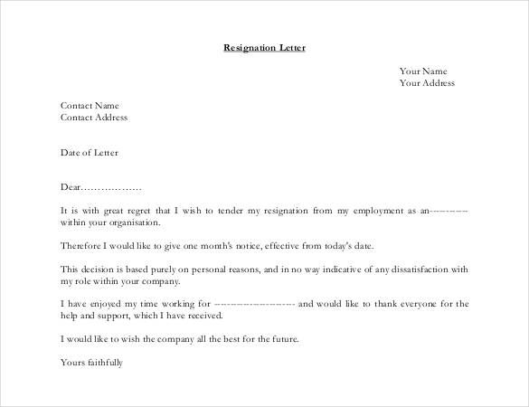 10+ Resignation Letter Samples Word, Excel  PDF Templates www