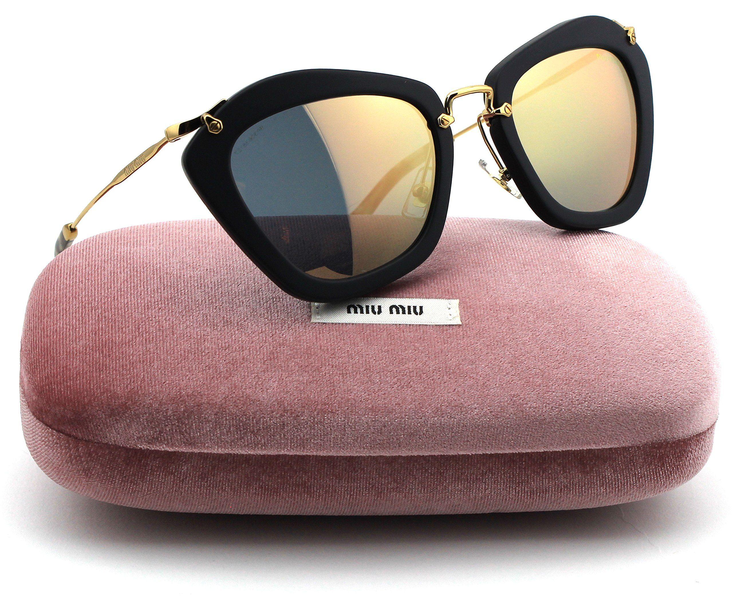 ba7d8279473e Miu Miu MU 10NS Noir Forties-Style Black Sand Frame   Grey Rose Gold  Mirrored Lens (1BO 2D2)