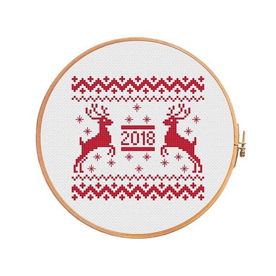 Deer 2018 Cross Stitch Pattern Scandinavian Merry Santa Cross Stitch Cross Stitch Patterns Cross Stitch Patterns Christmas