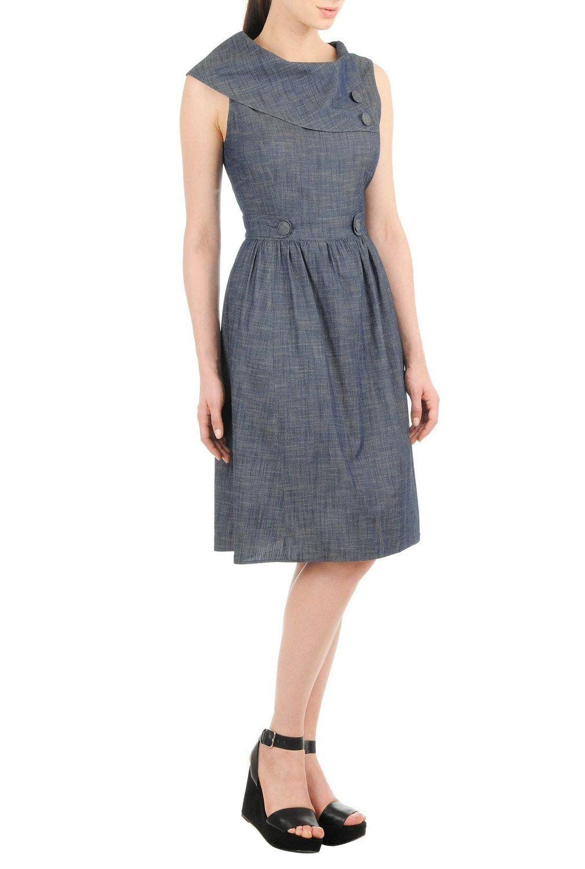 5449adf4926 eShakti Women s Custom Styling Enabled Vintage denim chambray dress at Amazon  Women s Clothing store