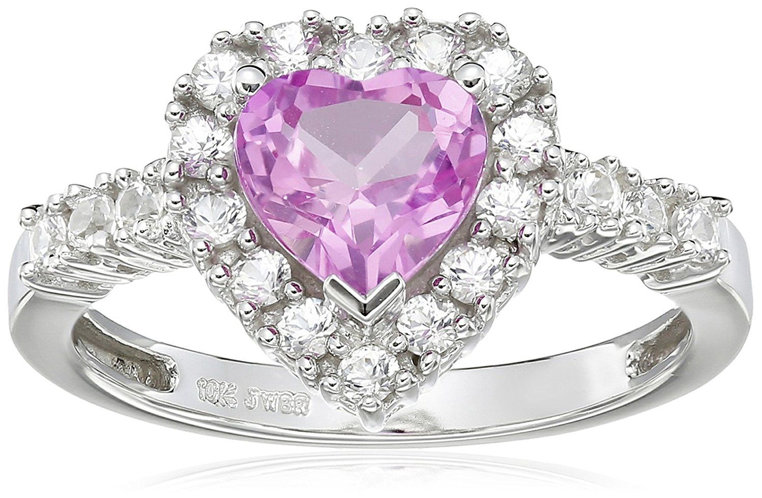 10k White Gold Heart Shaped Created Pink Sapphire And Round Created White Sapphire Heart Ring Want Additional Heart Ring White Sapphire Ring Pink Sapphire