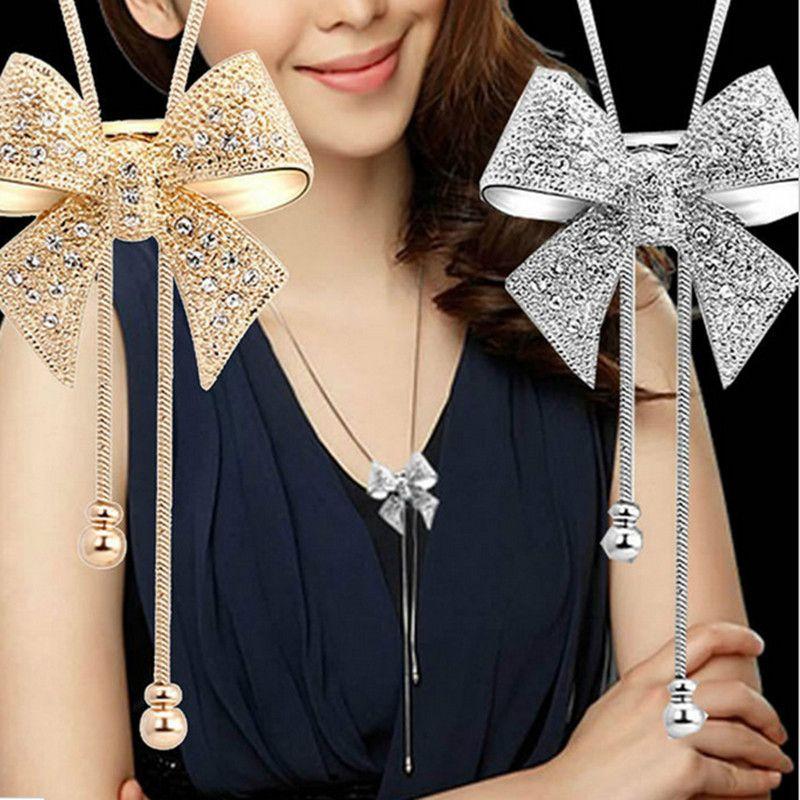 Neue Dame Chic Lange Strass Erklärung Shiny Bogen Anhänger Versilbert Schmetterling Kette Halskette Schmuck