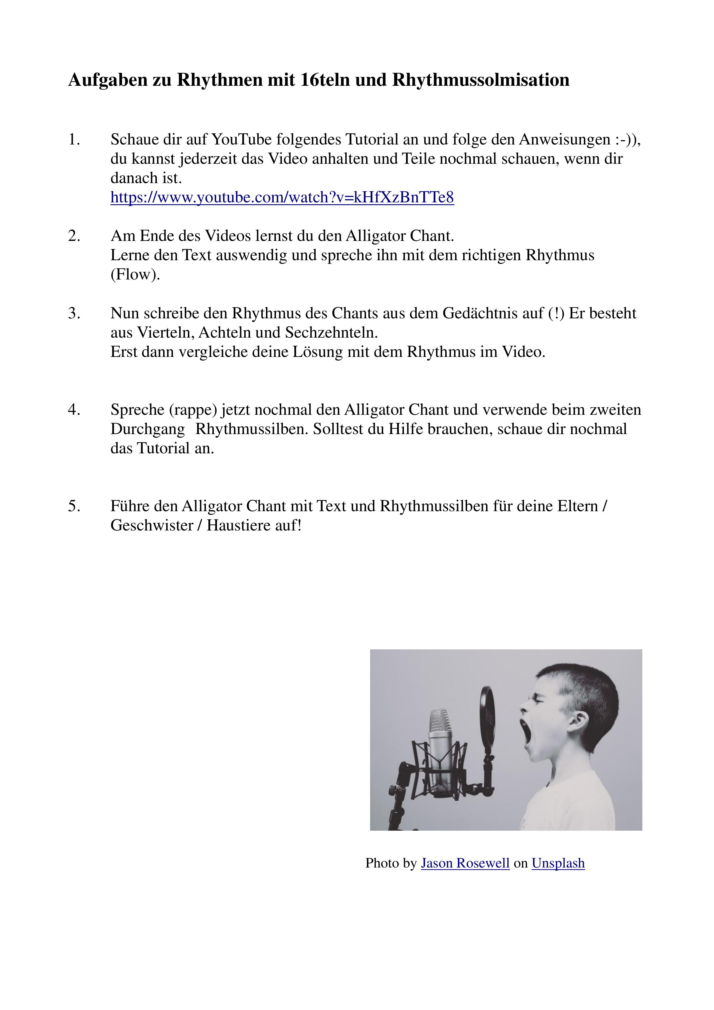 Rhythmusubungen Mit Videotutorial Unterrichtsmaterial Im Fach Musik Musik Unterrichtsmaterial Sekundarstufe