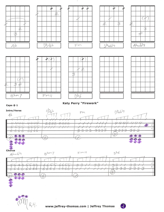 Katy Perry Firework Free Guitar Tab Arrangement By Jeffrey Thomas