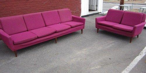 Dux Danish Modern Mid Century Sofa Couch Matching Loveseat | eBay ...