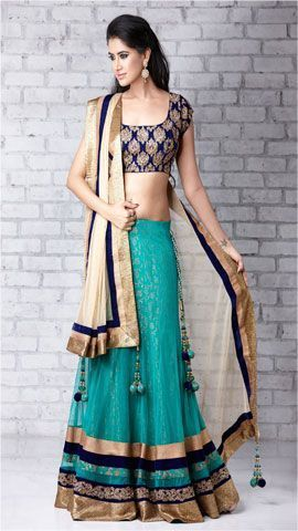 Z Fashion Trend: ELEGANT BEIGE AND BLUE PARTY WEAR LEHENGA