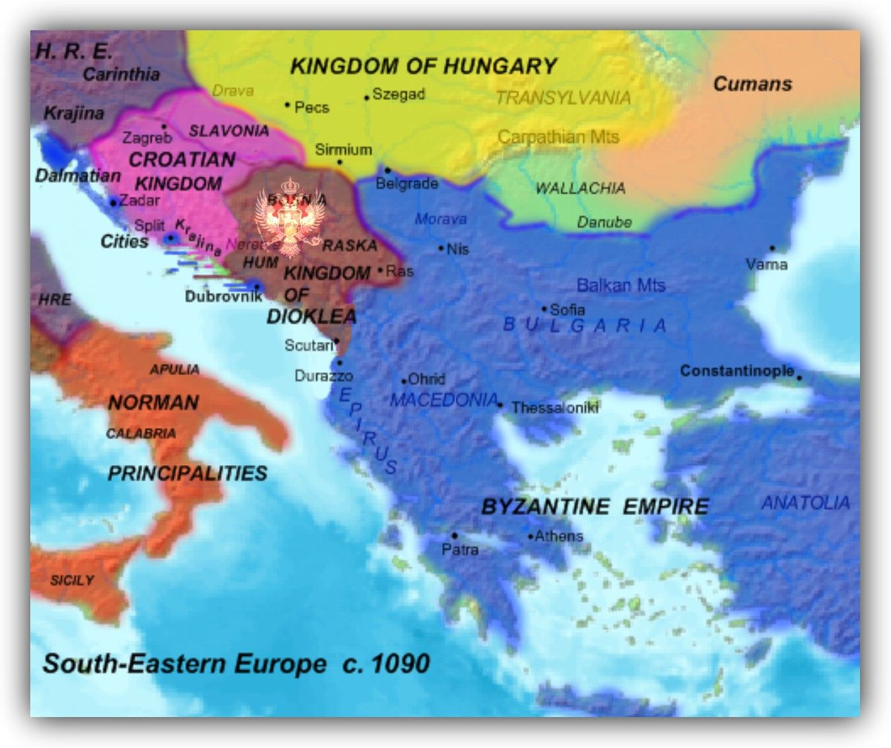 Karta Jugoistocna Europa 1090 Kraljevina Duklja Map Of South
