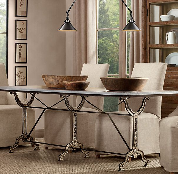 """Dining Room Table Slides: 72"""" Factory Zinc & Cast Iron Rectangular Dining Table"""