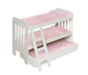 Badger Basket Trundle Doll Bunk Beds With Ladder Pink White By