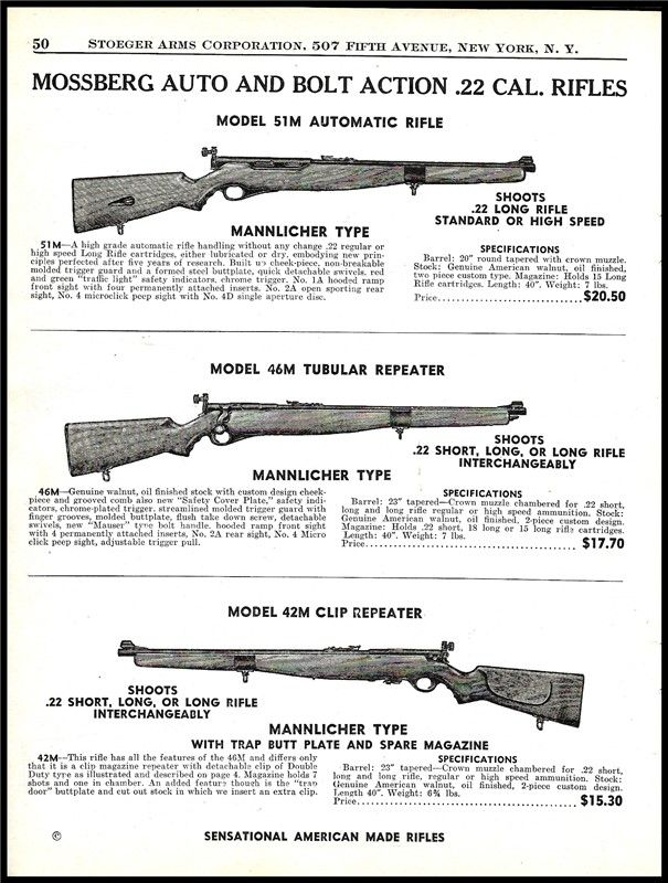 1942 Mossberg 51m 46m 42m 22 Rifle Print Ad 22 Other