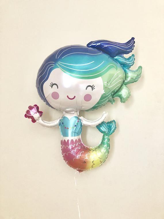 Mermaid Balloon~Under The Sea Party~Mermaid Party~Mermaid Birthday~Rainbow Mermaid~Mermaid Decor~Mermaid Party Decor~Mermaid First Birthday