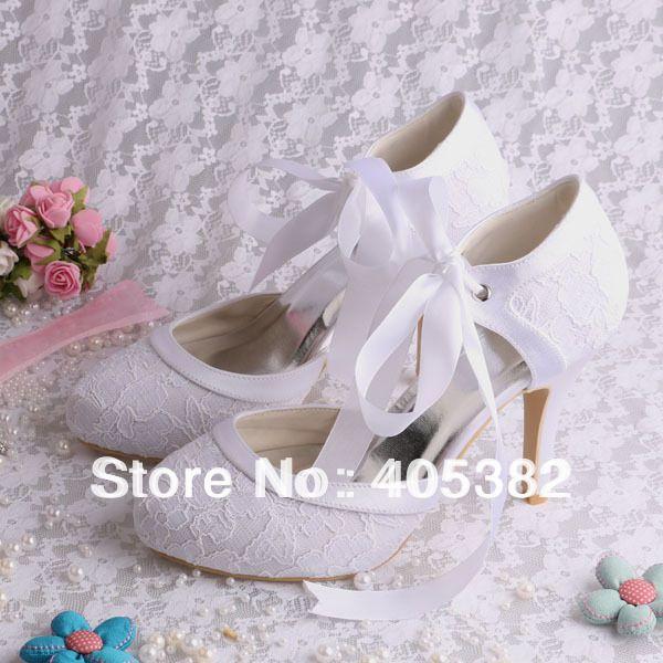 Hot Classic Custom 10cm Heel Lace White Bride Shoes Wedding Pumps