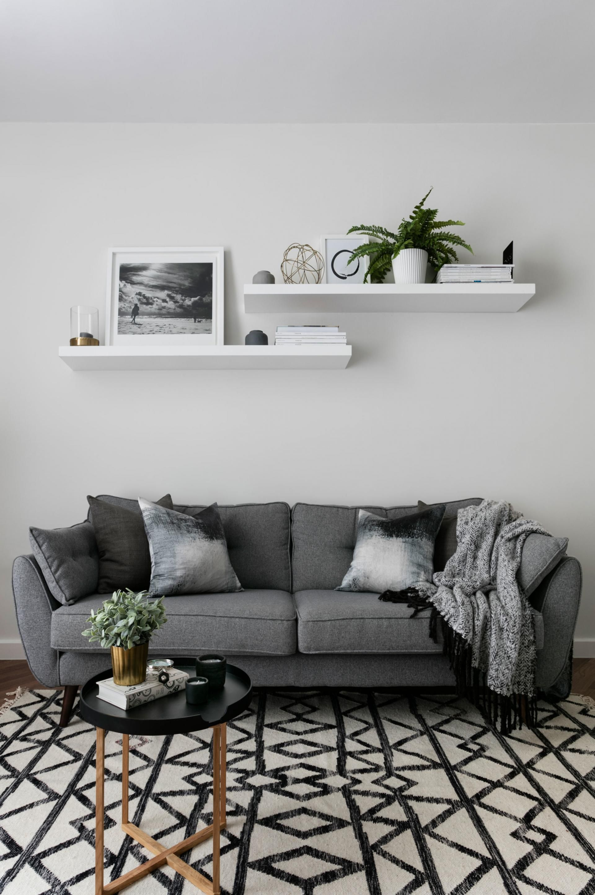monochrome living rooms