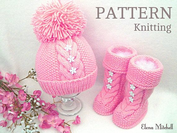 Knitting PATTERN Baby Hat Baby Shoes Baby Booties Knitted Baby | Mis ...