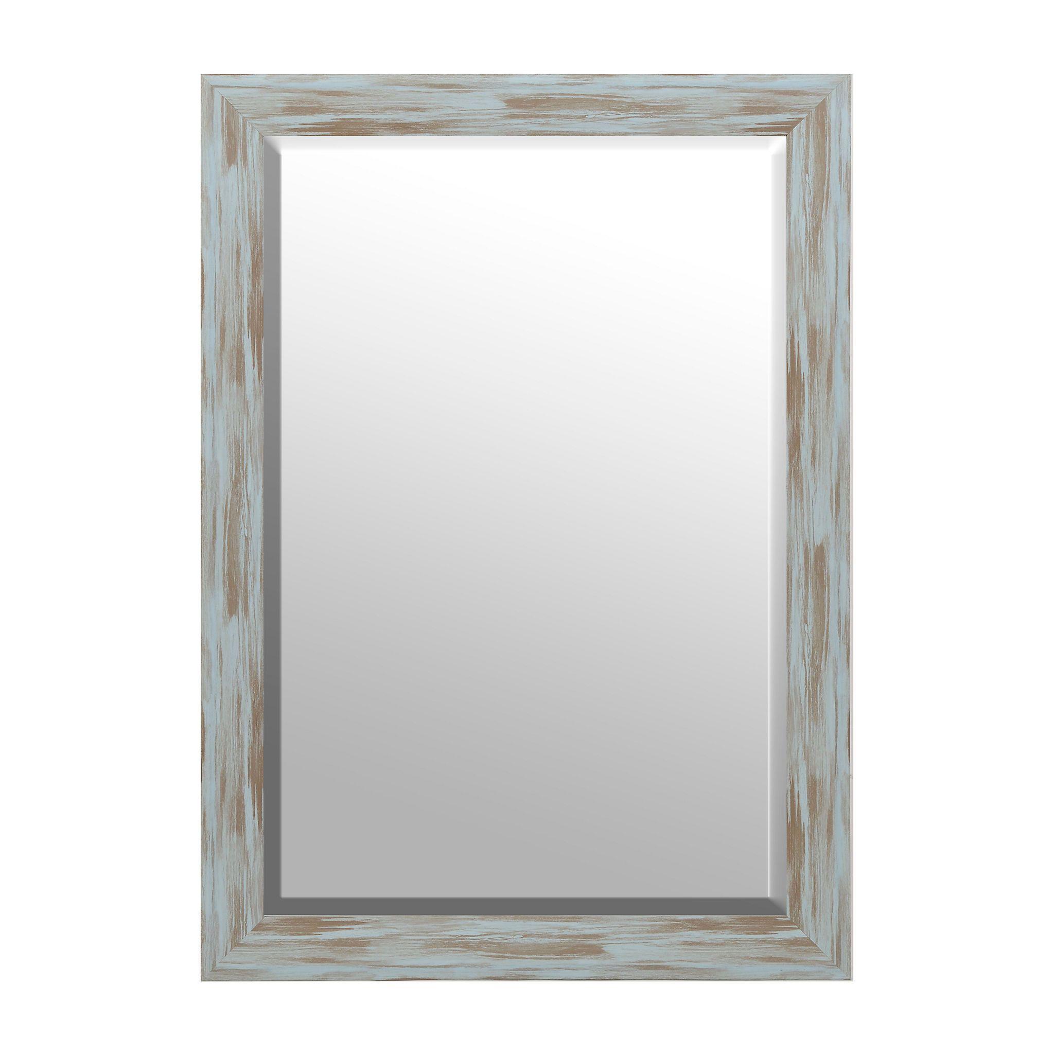 Distressed Blue Driftwood Framed Mirror 30x42 Bathroom Mirror Frame Mirror Decor Driftwood Frame [ 2048 x 2048 Pixel ]