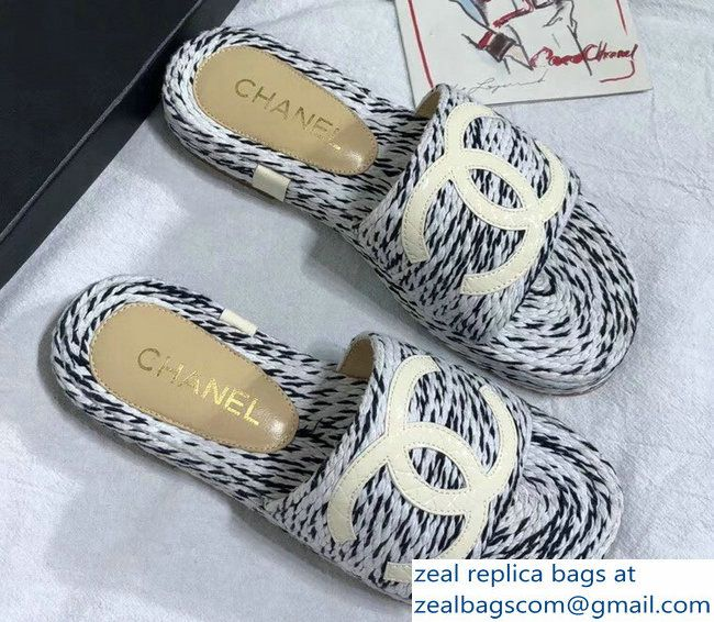 8dc1476d0ce Chanel Heel 3cm Cord Mules Slipper Sandals G33588 Gray Creamy 2018 ...