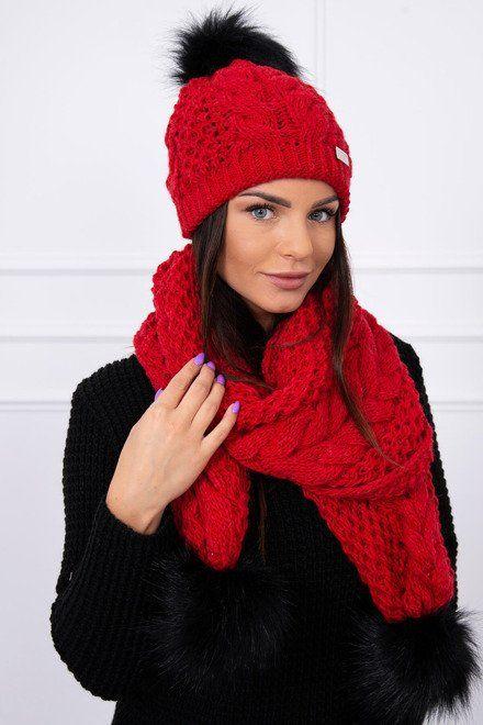 2e708959d Krásna súprava na zimu červená v krásnych farbách. Pletený zimný set, ktoré  sú zakončené