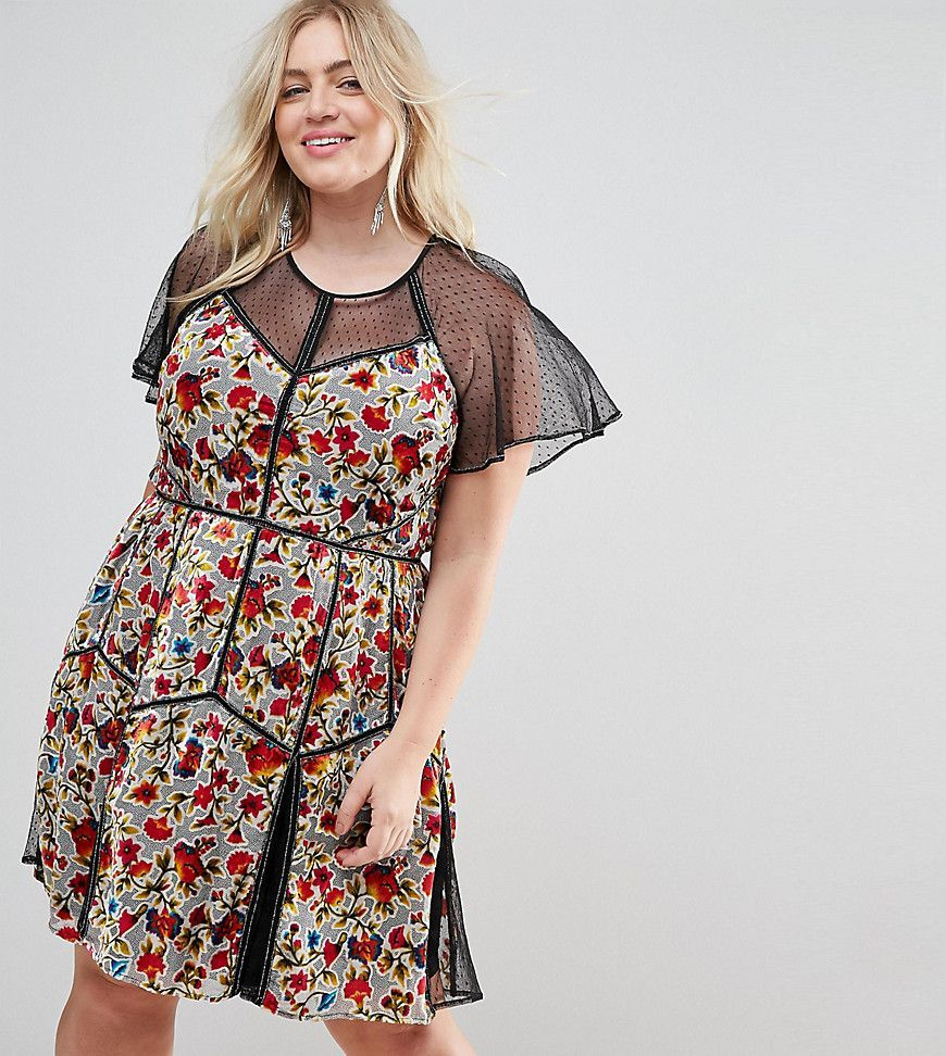 Frock and frill plus floral printed velvet mini dress with
