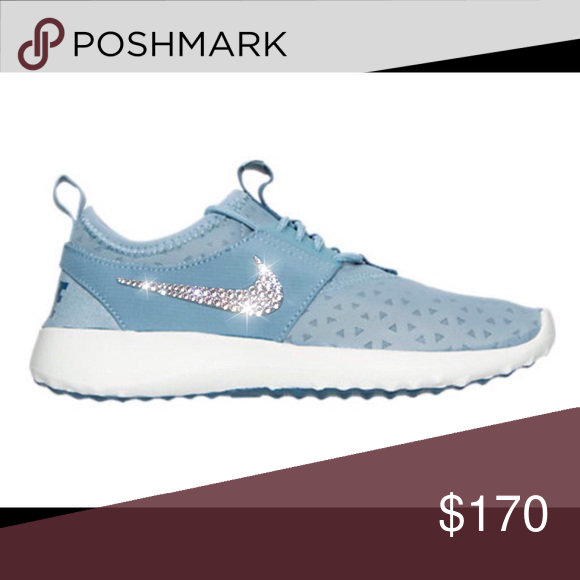 Bling Nike Juvenate Shoes with Swarovski Crystals 💎 Authentic New Women s  Nike Juvenate Shoes in Pale Blue with Swarovski Crystal Detail on outer  logos. b5d2cf969