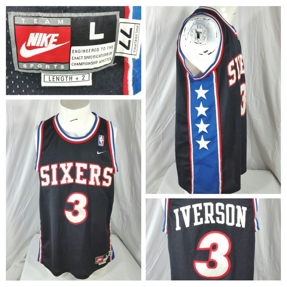 Allen Iverson #3 Team Nike All Star Jersey Size Large+2 Philadelphia 76ERS (