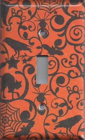 Halloween Witches Spider Webs Black Cats Bats Light Switchplates