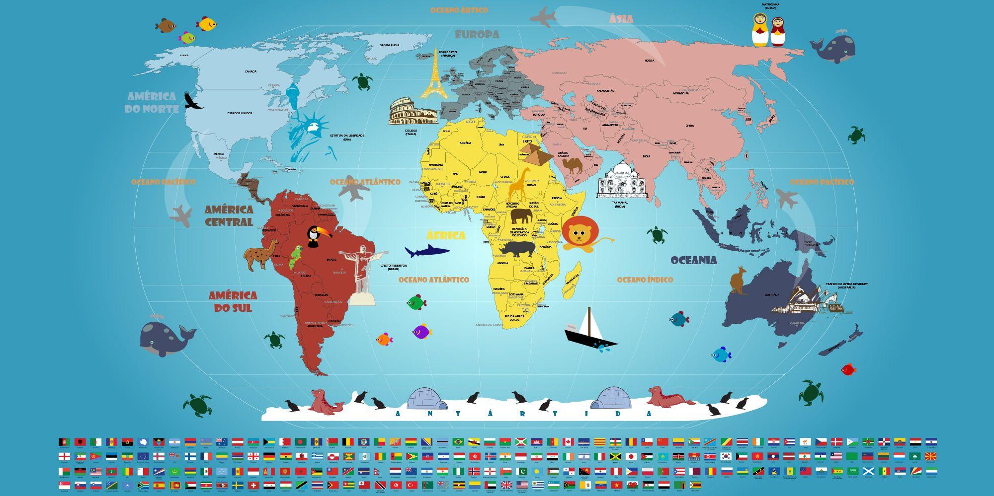 Mapa Mundi Infantil adesivo artisticamente ilustrado e bandeiras