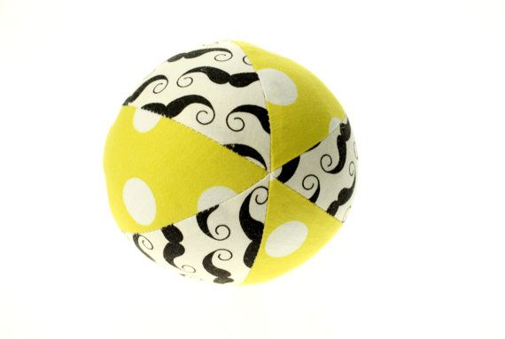 Mustache Small 4 Cloth Ball by LittleFreeRadical on Etsy