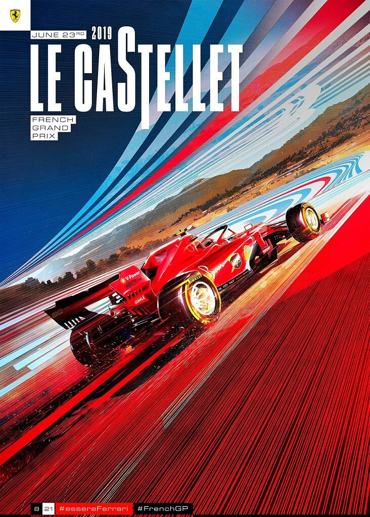 2019 French GP Fabulous Ferrari poster for the French