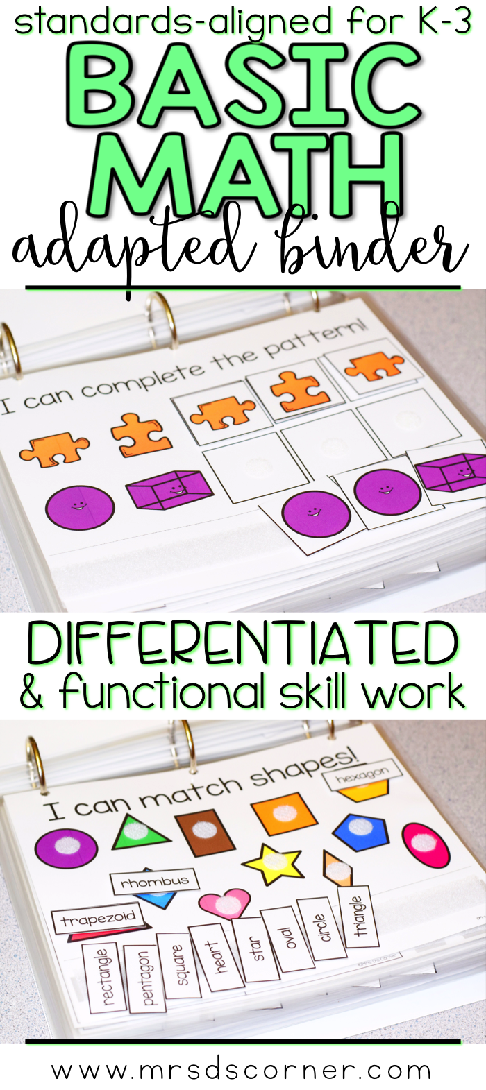 Basic Math Skills Adapted Work Binder ( for Special Needs ...