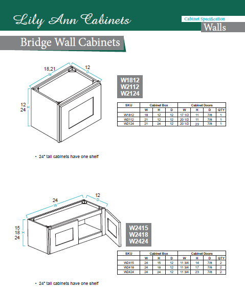 Bridge #Wall #Cabinets #specification by Lily Ann Cabinets. Buy ...