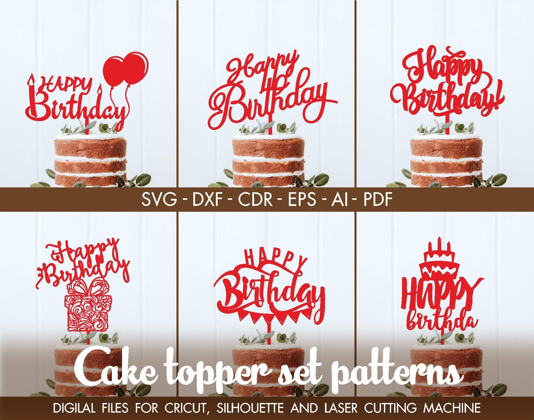 CNC Digital File SVG Silhouette Cut File Heart Cake Topper Template Heart Vector Laser Cut Cake Topper Decor for Cake Vector Template