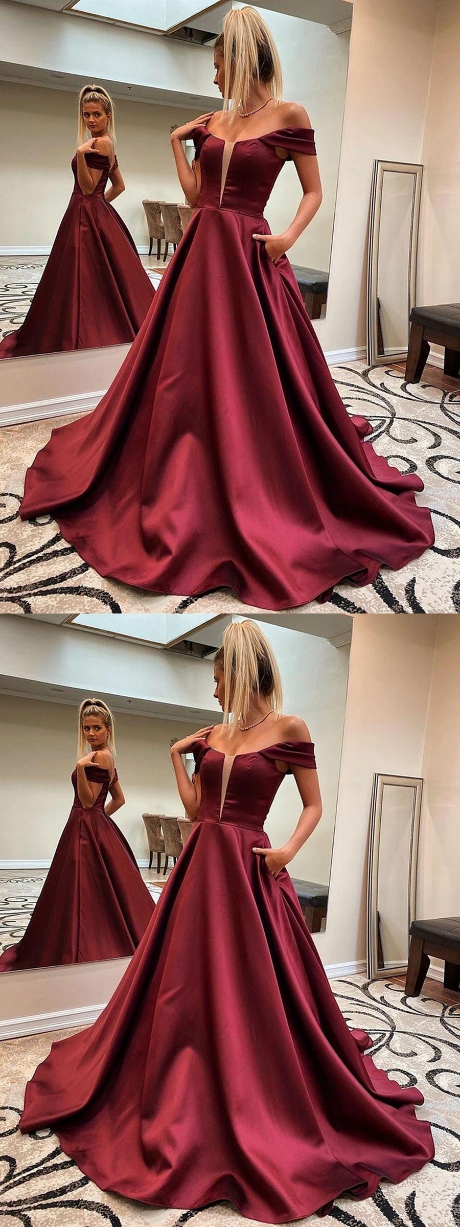 Custom Made Off Shoulder Burgundy Long Prom Dresses With Pocket Off Shoulder Maroon Formal Dresses Wine Red Evening Dresses In 2021 Prom Dresses With Pockets Burgundy Prom Dress Red Evening Dress [ 2400 x 900 Pixel ]