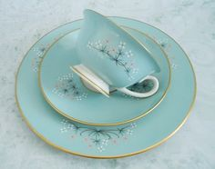 Vintage Teacup and Saucer in Mint Green,  Tea Cup and Saucer Trio