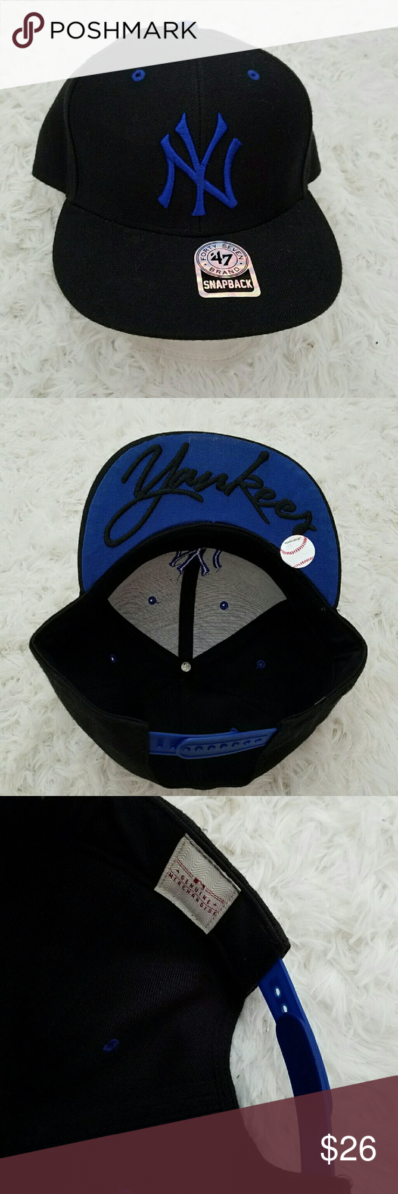 NEW YORK YANKEES SNAPBACK Genuine 47 Brand NBL New YORK Yankees Black and Blue snapback. In excellent condition except under the bill has sticky marks, see last photo.  Perfect gift. No fading or other stains. 47  Accessories Hats