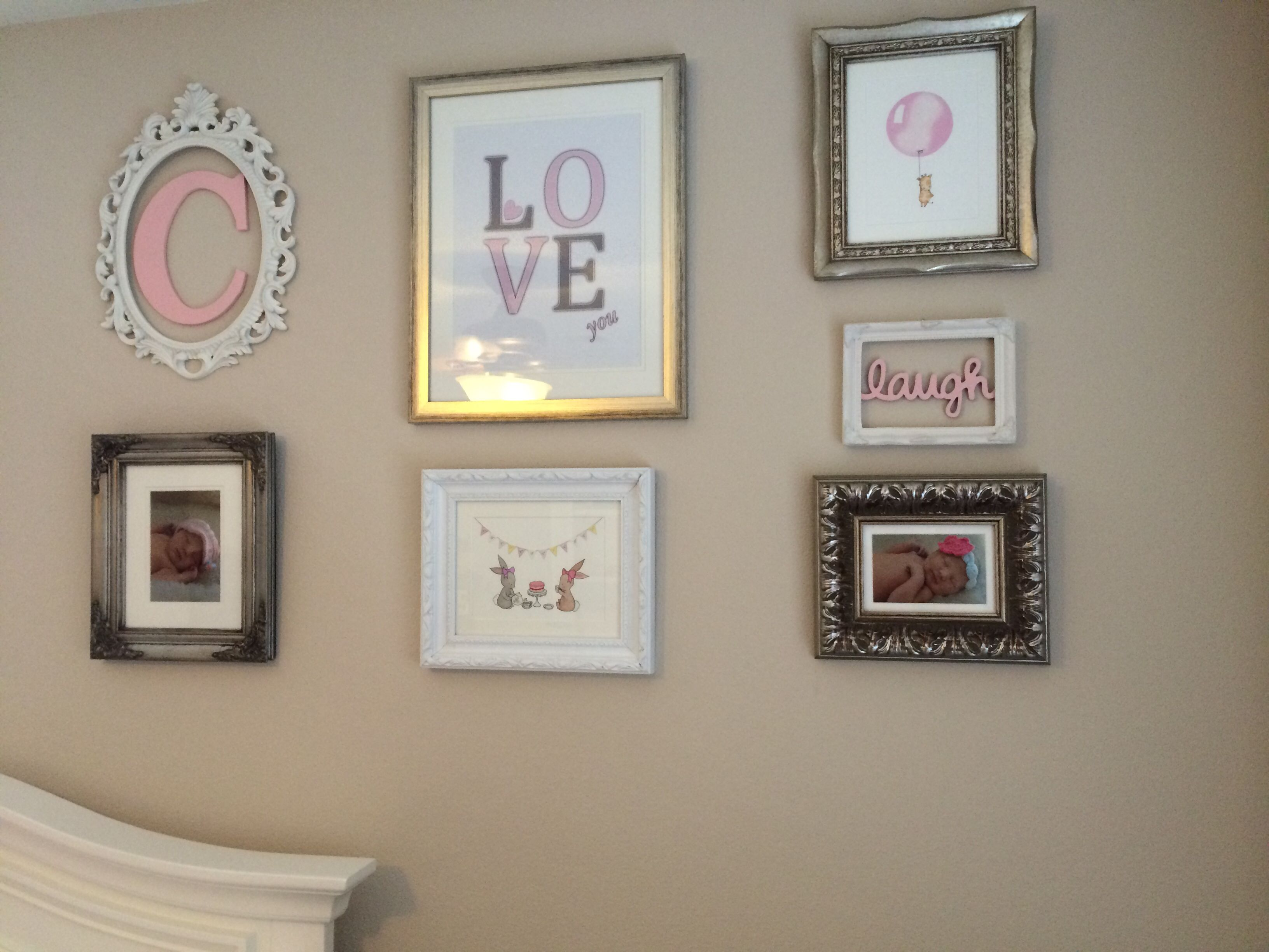 Girl Nursery Gallery Wall, Hobby Lobby Frames, Love Artwork, Love