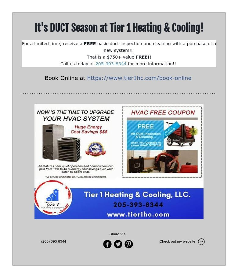 It S Duct Season At Tier 1 Heating Cooling Duct Duct