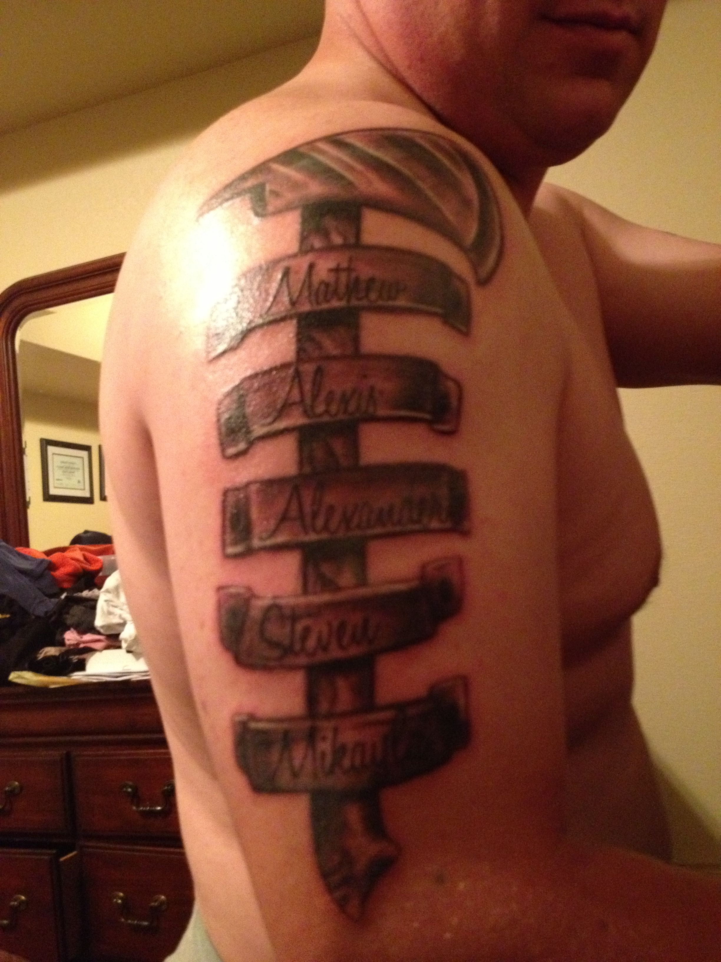 Firefighter Tattoo With All The Kids Names Fire Fighter Tattoos Tattoos Firefighter Tattoo