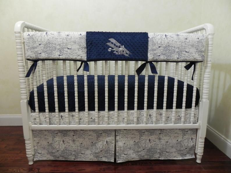 Airplane Crib Bedding Set Boy Baby Bedding Navy And Gray Etsy In 2020 Baby Bed Baby Boy Bedding Mini Crib Bedding