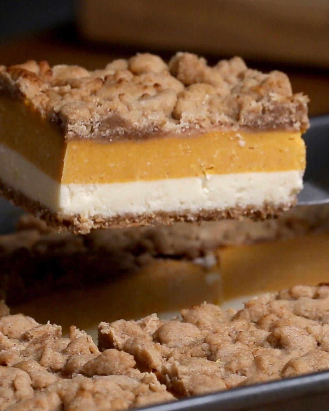 Pumpkin Cheesecake Bars Recipe By Tasty Recipe Cheesecake Bar Recipes Pumpkin Cheesecake Bars Pumpkin Dessert
