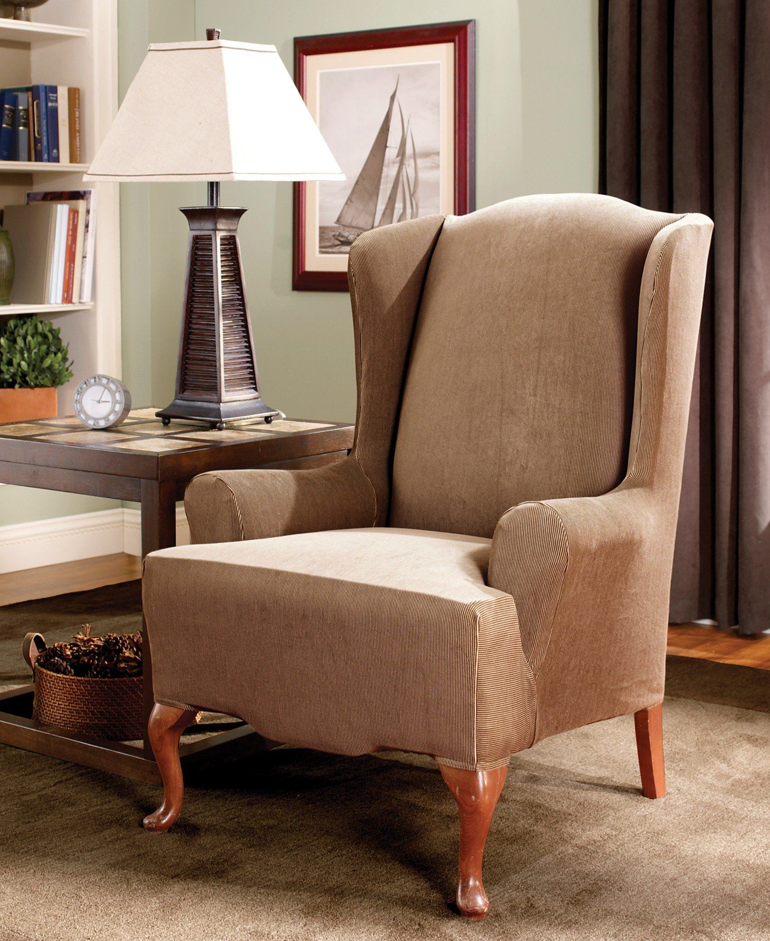 Amazon.com - Sure Fit Stretch Stripe Wing Chair Slipcover ...