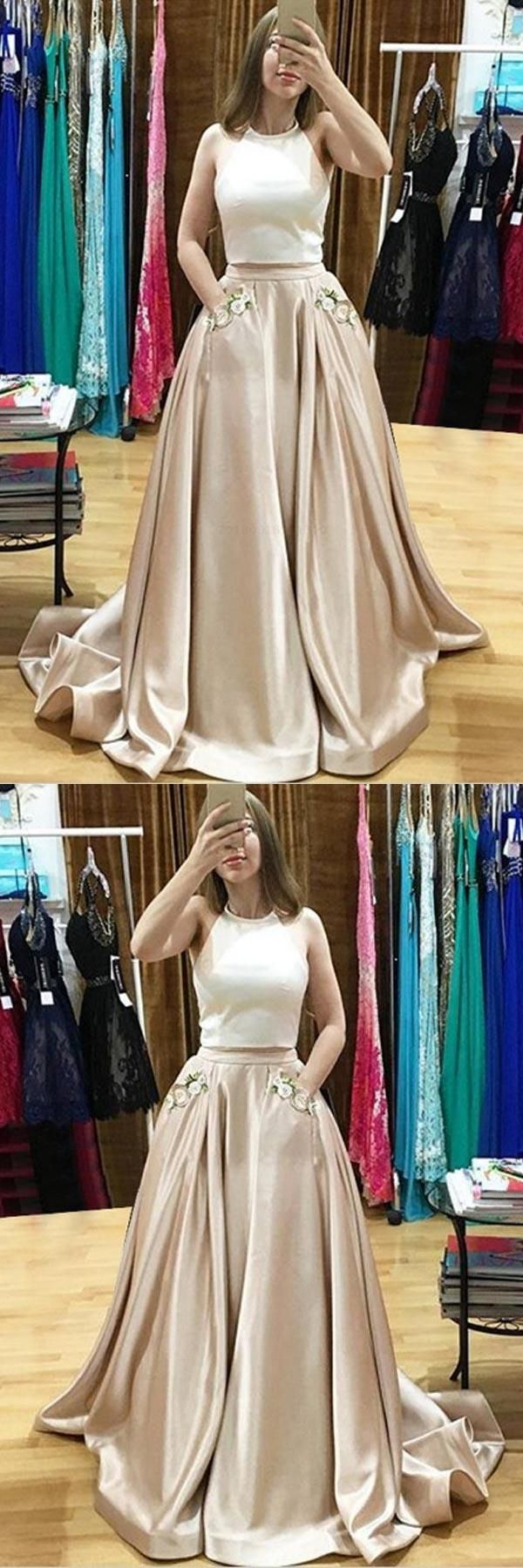 Discount admirable prom dress two piece prom dress with appliques