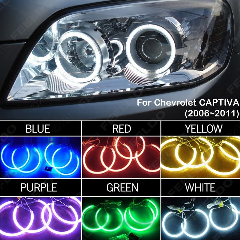 6 Color Car Headlight Ccfl Angel Eyes Halo Rings Kits For Chevrolet Captiva 2006 2011 J 3272 Chevrolet Captiva Angel Eyes Car Headlights