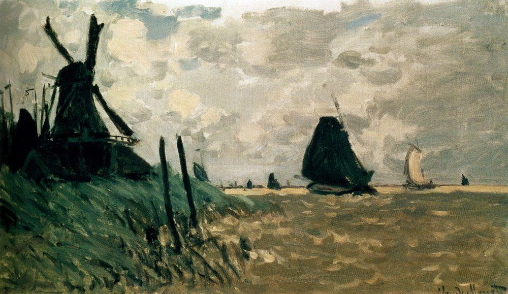 A Windmill near Zaandam - Claude Monet