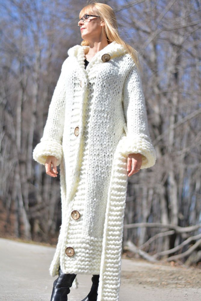 DUKYANA Hand Knitted WOOL CARDIGAN no Mohair Sweater coat Chunky ...